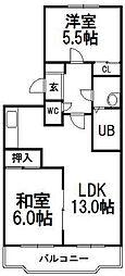 北海道札幌市厚別区大谷地西5丁目の賃貸マンションの間取り