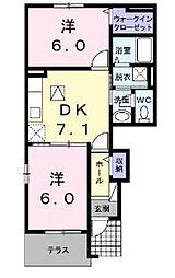 カーサ フェリーチェ III[1階]の間取り