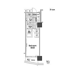 パークハビオ赤坂タワー 2階1Kの間取り