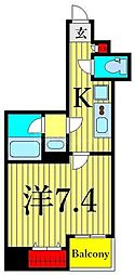 東京メトロ日比谷線 入谷駅 徒歩1分の賃貸マンション 5階1Kの間取り