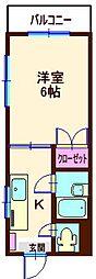 神奈川県横浜市神奈川区六角橋4の賃貸マンションの間取り
