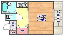 サンハイツ柳田[401号室]の間取り