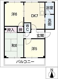 サンハイムみどりA・B[1階]の間取り