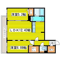 北海道札幌市東区北九条東5丁目の賃貸マンションの間取り