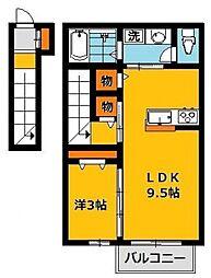 Reve k 2階1LDKの間取り