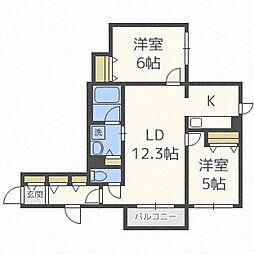 北海道札幌市中央区南十八条西7丁目の賃貸マンションの間取り