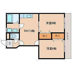 奈良県奈良市柏木町の賃貸アパートの間取り
