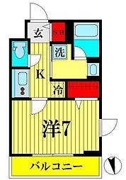 京成押上線 京成曳舟駅 徒歩6分の賃貸マンション 5階1Kの間取り