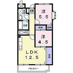 メゾンドエルGE 3階2LDKの間取り