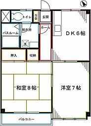 西武国分寺線 恋ヶ窪駅 徒歩7分の賃貸マンション 2階2DKの間取り