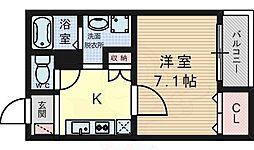 阪急京都本線 水無瀬駅 徒歩4分の賃貸マンション 1階1Kの間取り