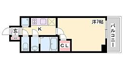 エスリード神戸ハーバーテラス 7階1Kの間取り
