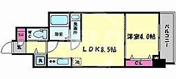 レオンコンフォート谷町九丁目 5階1LDKの間取り