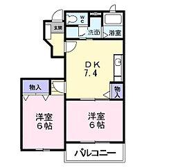 キャンパニュールA棟[1階]の間取り