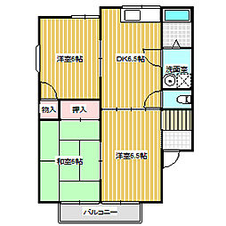 岡山県岡山市東区西大寺中野の賃貸アパートの間取り