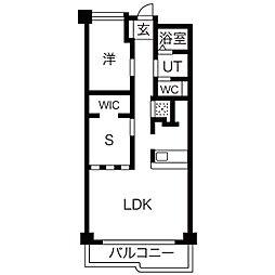 里水マンションA[6階]の間取り