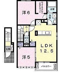 香川県丸亀市柞原町の賃貸アパートの間取り