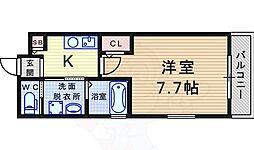 阪急神戸本線 園田駅 徒歩6分の賃貸マンション 2階1Kの間取り