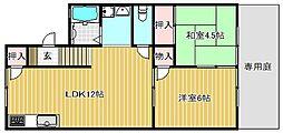 滋賀県守山市守山6丁目の賃貸アパートの間取り