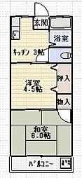 第1サンシャイン関原[202号室]の間取り