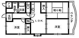 大阪府堺市西区鳳中町10丁の賃貸マンションの間取り