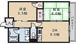 ルミネス阪南[3階]の間取り