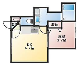 吉川マンション 1階1DKの間取り