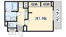 JR阪和線 熊取駅 徒歩5分の賃貸アパート 2階1Kの間取り