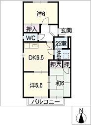 ホワイト ローヌA棟[1階]の間取り