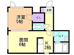 ディライトN26(フレンズII) 2階1LDKの間取り