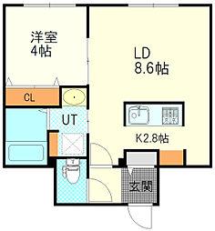 JR函館本線 厚別駅 徒歩1分の賃貸マンション 4階1LDKの間取り