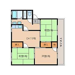 静岡県静岡市清水区馬走の賃貸アパートの間取り