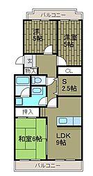 東京都町田市高ヶ坂7丁目の賃貸マンションの間取り