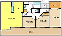 愛知県名古屋市千種区新池町1丁目の賃貸マンションの間取り