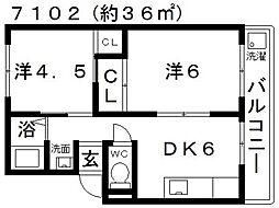 西島コーポラス[305号室号室]の間取り