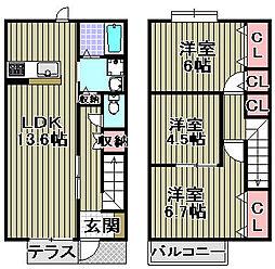 [タウンハウス] 大阪府岸和田市尾生町 の賃貸【/】の間取り