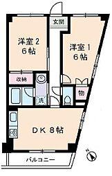 西武池袋線 東久留米駅 徒歩3分の賃貸マンション 3階2DKの間取り