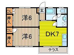 第二内田コーポ[102号室]の間取り