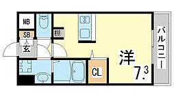 JR東海道・山陽本線 新長田駅 徒歩3分の賃貸マンション 5階ワンルームの間取り