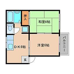 奈良県大和高田市東中2丁目の賃貸アパートの間取り