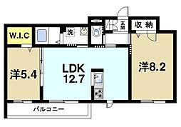 奈良県奈良市四条大路3丁目の賃貸マンションの間取り