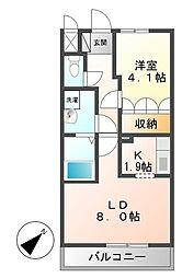 千葉県東金市東岩崎の賃貸アパートの間取り
