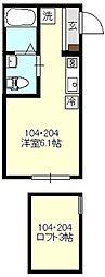 エアカーサ三ツ沢[204号室号室]の間取り