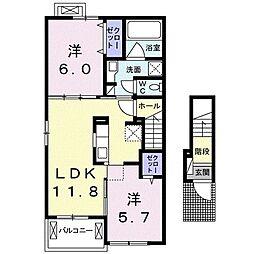 静岡県富士市五貫島の賃貸アパートの間取り