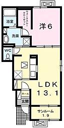 新潟県村上市塩町の賃貸アパートの間取り