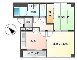 富山県富山市追分茶屋の賃貸アパートの間取り