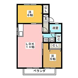 ヒューチャー21 B棟[2階]の間取り