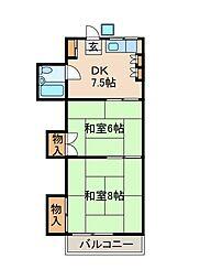 サンライズ渋谷[2階]の間取り