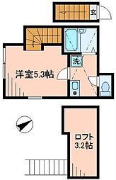 東京都北区赤羽西3丁目の賃貸アパートの間取り