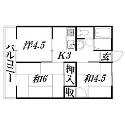 静岡県浜松市中区鴨江2丁目の賃貸アパートの間取り